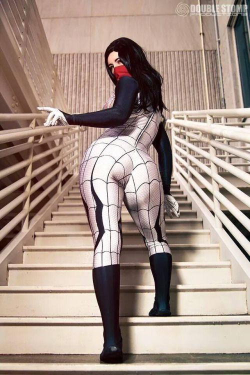 Cosplay girl black spider
