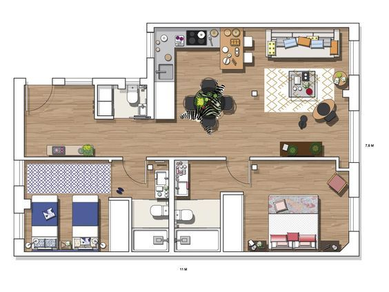 27 best plan 2D images on Pinterest Architecture, House floor - plan maison plain pied 80m2