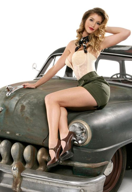Vintage pinup girl and car