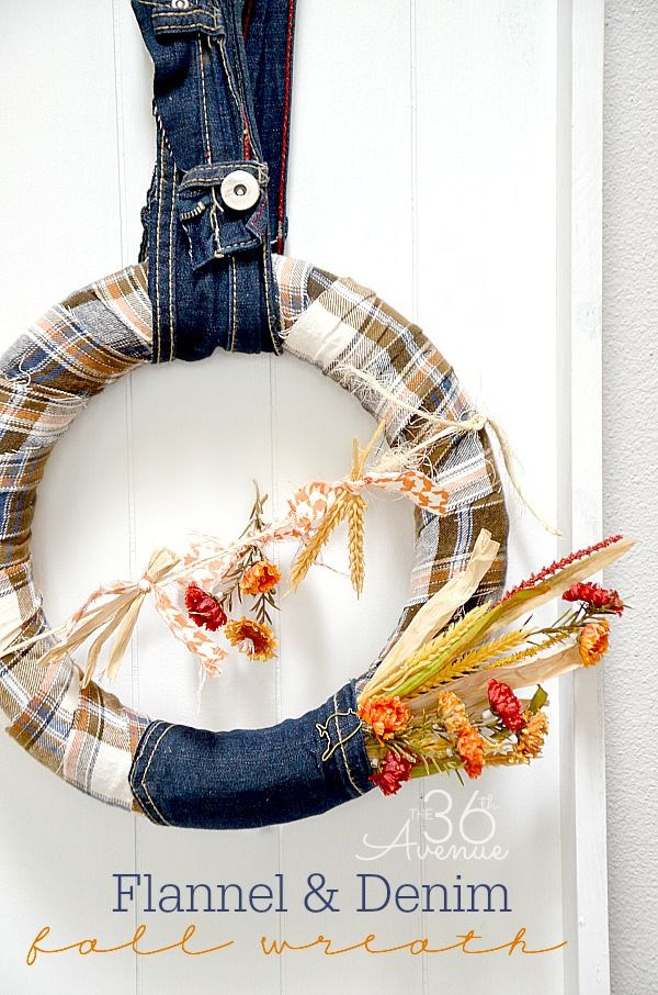 Fall Wreath Tutorial at the36thavenue.com Loving the flannel and denim!