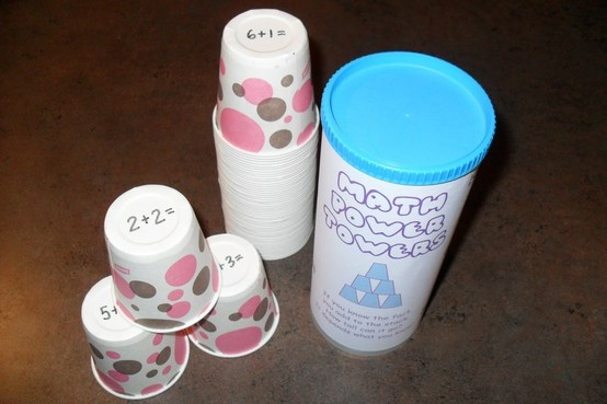 Cup stacks with math facts or sight words.  You have to solve the problem or read the word before you can stack.  Store in a Pringles can.