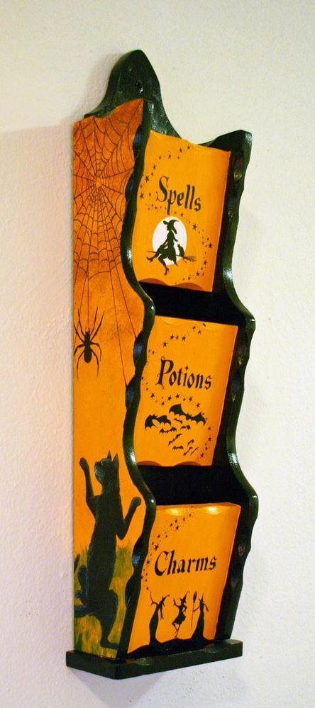 halloween witch cat bats jol moon ooak hp vintage style folk letter holder wood