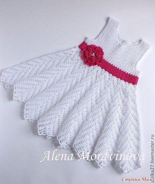 Белое чудо - вязаное крючком платье для девочки. Описание и схемы... фото #1