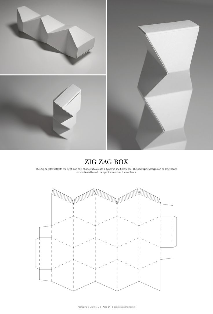 Zig Zag Box – structural packaging design dielines