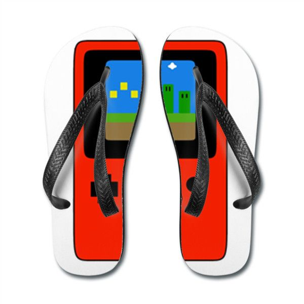 Red 8bit Retro Gamer cute hipster flipflops beach shoes Flip Flops... ($26) ❤ liked on Polyvore featuring shoes, sandals, flip flops, retro shoes, summer flip flops, red flip flops, swimming shoes and black white sandals