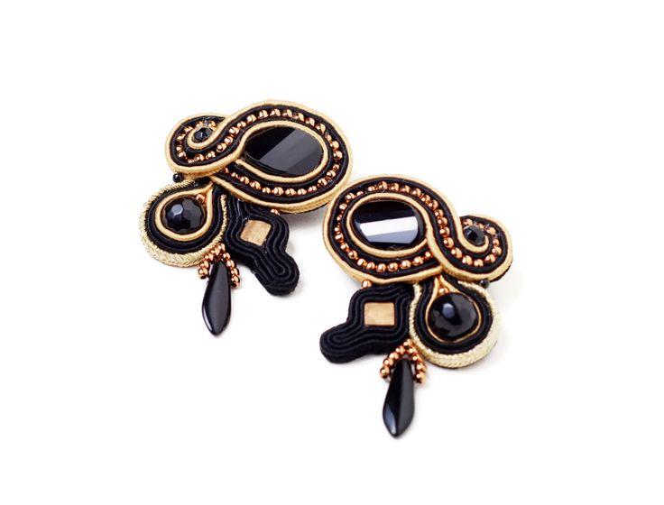 screw back earrings handmade black and gold soutache jewelry dangle earrings black onyx handmade jewelry small by SixVintageChicks on Etsy