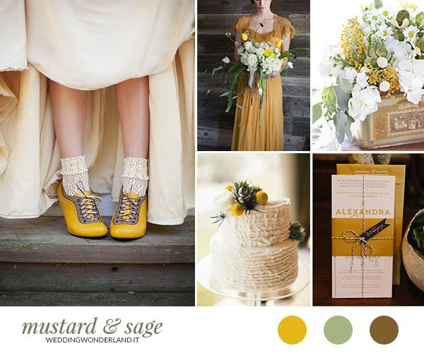 Matrimonio autunnale giallo senape e verde salvia