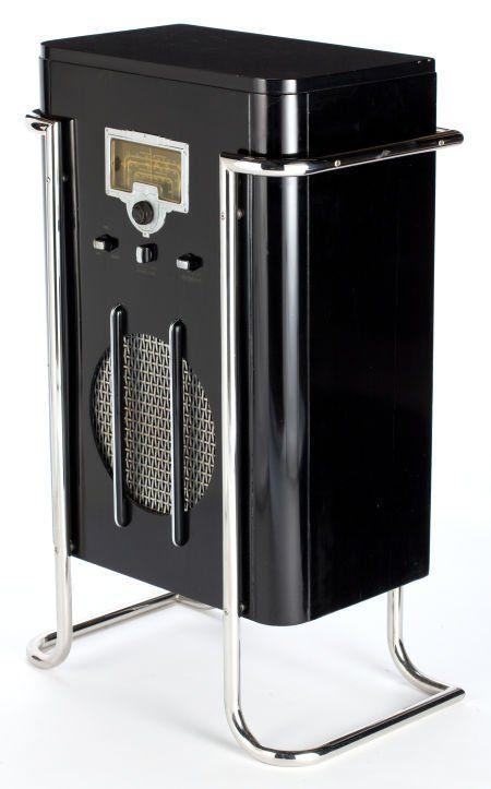 Streamlined black lacquer and chrome RCA Model 6K10 floor radio designed by John Vassos, 1936