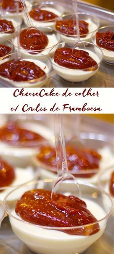 Cheese Cake de colher com Coulis de Framboesa. Sobremesa de Liquidificador, para lá de prática, não vai nem ao fogo. Junta tudo bate e tá pronto! Primeiro batemos o creme …
