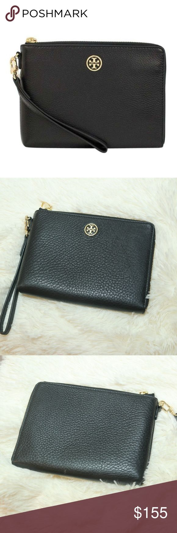 Tory Burch Black Leather Landon Wristlet Tory Burch Black Leather Landon Wristlet Pebbled leather wristlet with T Gold toned hardware.  Tory Burch logo on front, Zip pocket on back,  Interior lined with TB logo fabric and has 1 zip pocket, 1 full-length slip pocket, and 1 smart phone slot. Tory Burch Bags Clutches & Wristlets