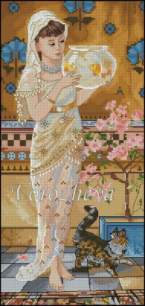 point de croix fille habillée de voile et poissons rouges - cross stitch girl dressed with veil and goldfishes