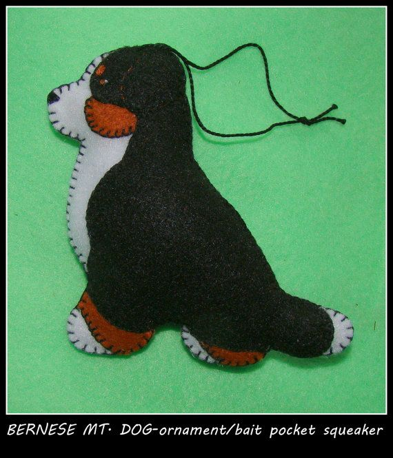 Bernese Mountain Dog Ornament/Bait Pocket Squeaker-REDUCED! Handmade and…
