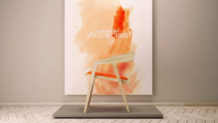 VECTOR chair w ciekawej giętej formie z możliwością rożnych wykończeń tapicerki siedziska.