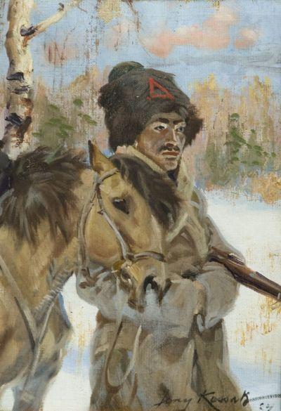 Jerzy Kossak (1886 - 1955) Bolszewik z koniem, 1924 r. olej/płótno 29 x 20 cm