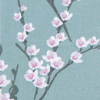 Vævet+bomuld+støvet+grøn+m+blomster