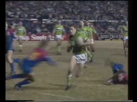 MORE GREAT CANBERRA RAIDERS MOMENTS: Mullins scores four    Brett Mullins scored four tries in Newcastle in 1994, in a 52-16 win for the Raiders over the Knights. At the end of the match, he'd scored 11 tries in 14 days, with three against the Sharks and four against the Rabbitohs in the previous two rounds. The first two tries against the Knights were memorable length of the field efforts.