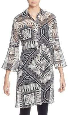2898e36e7e161a Amine Printed Tunic #quarter#collarThree#sleevesFlare   Women's ...