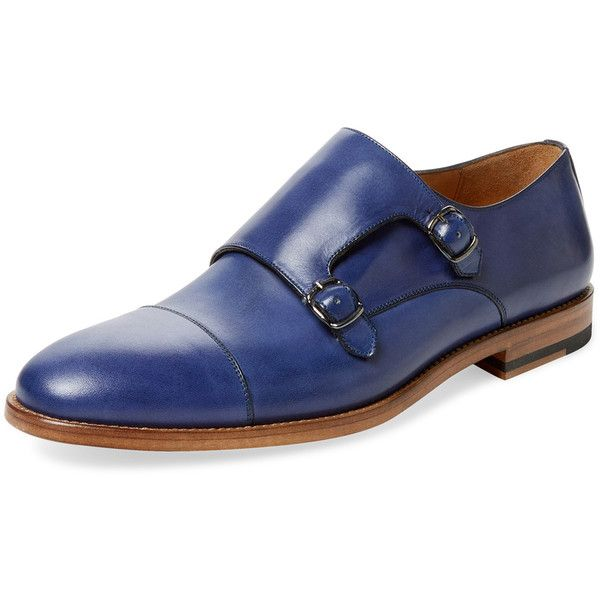 Gordon Rush Men's Cap-Toe Double Monkstrap - Dark Blue/Navy, Size 10 ($159) ❤ liked on Polyvore featuring men's fashion, men's shoes, men's dress shoes, mens navy blue dress shoes, mens cap toe dress shoes, mens dress shoes, mens double monk strap shoes and mens navy shoes
