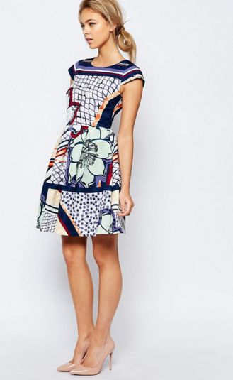 Ted Baker Multi Print Cap Sleeve Dress €252.10 Find your voucher here: https://www.vouchercloud.com.mt/asos-vouchers/1017467/find-your-wedding-guest-outfit-at-asos-discount-voucher-code