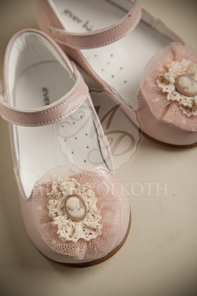 Παπούτσια βάπτισης για κορίτσι δερμάτινο ροζ περλέ με καμεο