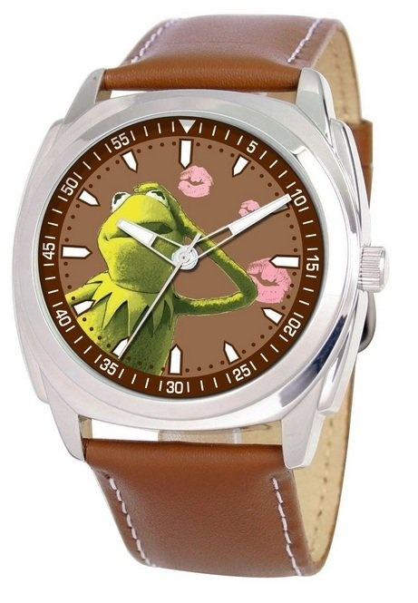 This Kermit the Frog wrist watch is too handsome! It's covered with Miss Piggy's kisses. #kermitthefrog #misspiggy #watches