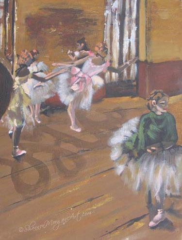 #art 087 Ballet Practice - Four girls at practice in a dance studio, pink tutus, brown background. #Degas interpreted (12×16 print) Media: Acrylic on canvas board Price: $250 CAD Buy art online: http://shannonmorganart.com/portraits/087-ballet-practice-degas-interpreted/