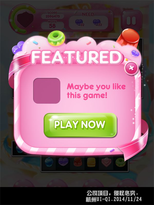 Candy cake dessert mobile game art UI