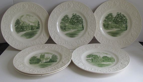 Green Transferware Historical Plates  Groton School Wedgwood Plates  set of 7 (5 different scenes 2 Replicating)  These vintage plates from the