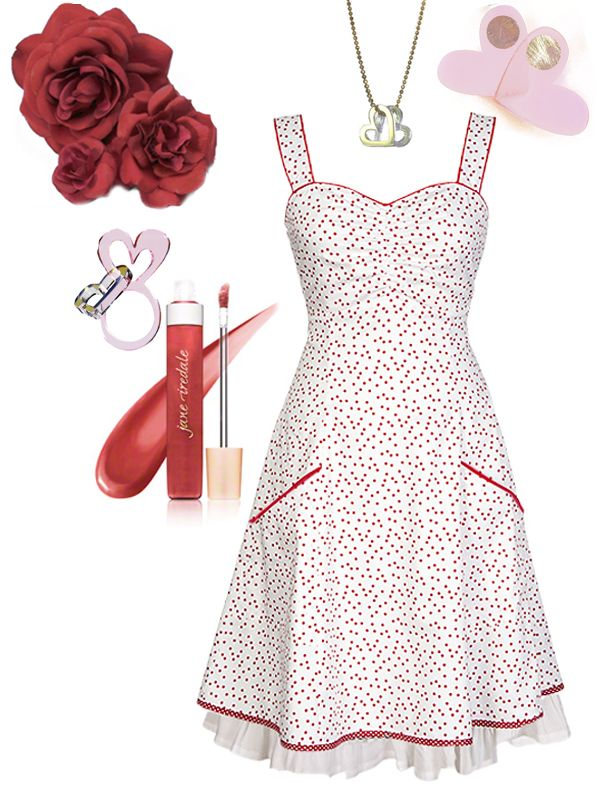 """♡Happy Valentine´s Day♡ In our """"Norah""""dress styled with a E&L rose. Accessories: The LOVEly """"Sweetheart"""" ring earrings and necklace from Pastel and Neon ❥  And we really like this Jane iredale lip gloss."""