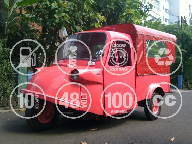 The 2nd prototype of electric Trimobile is on a road test, Jakarta, Indonesia (photography & graphic design: Enrico Halim)