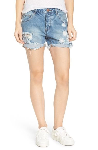 One Teaspoon Charger Distressed Denim Shorts (Blue Cream) available at #Nordstrom