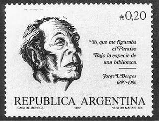 Jorge Luis Borges (1899-1986). Sello postal de Argentina.