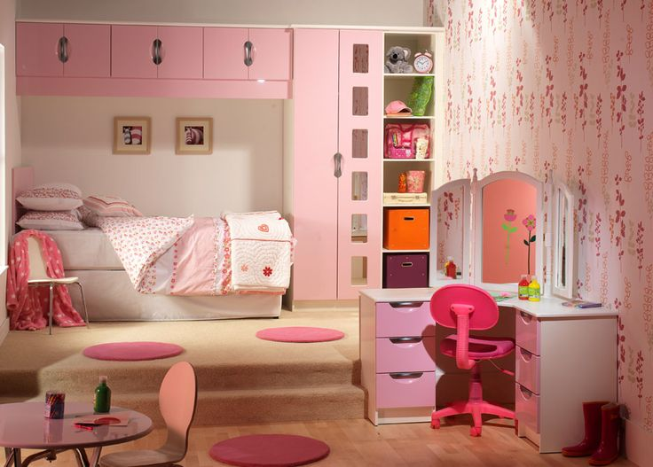 pretty in pink girls fitted bedroom finished in pink and white gloss
