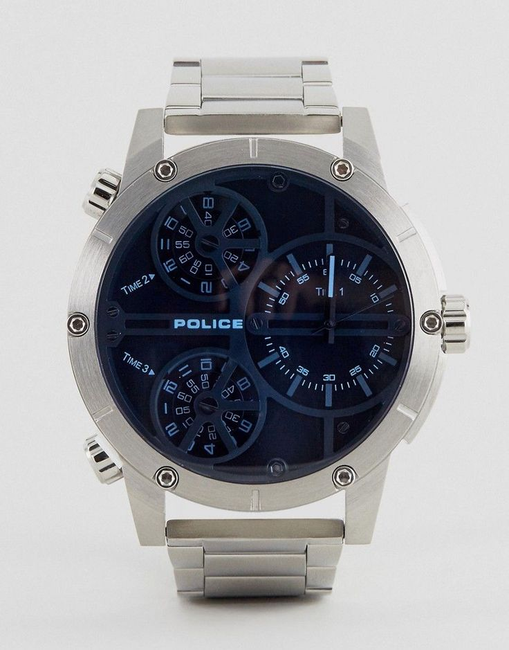 Get this POLICE's watch now! Click for more details. Worldwide shipping. Police Mens Multi Functional Blue Dial Stainless Steel Watch - Silver: Watch by Police, Stainless steel strap, Silver-tone case, Two hand movement, Sub-dial, chronograph design, Dash indices, Multiple crowns to side, Double folding fastening, 5ATM: water resistant to 50 metres (160 feet). (reloj, watches, mini clock, chronograph, chronometer, pulsometer, clock, watch, leather strap, reloj, minirreloj, cronógrafo…