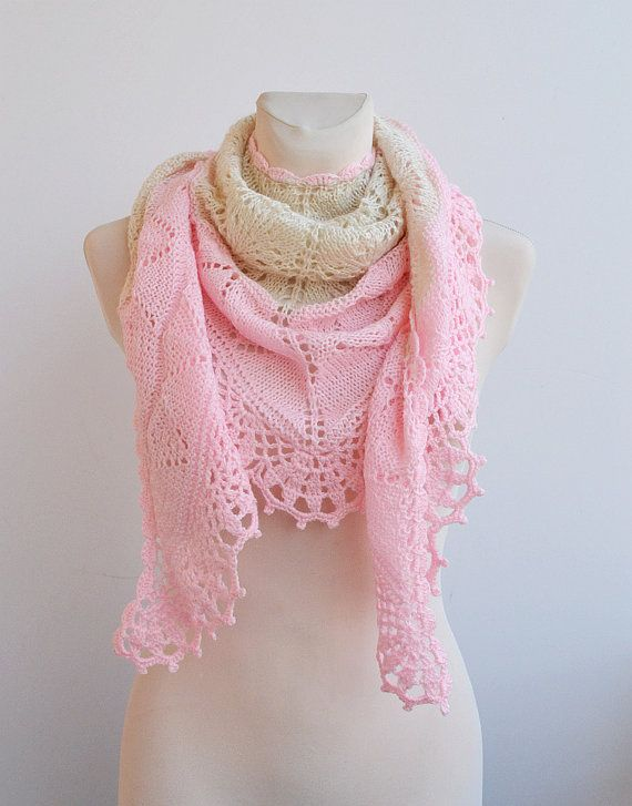 Ecru and pink Hand knitted shawl wedding bridal by DosiakStyle