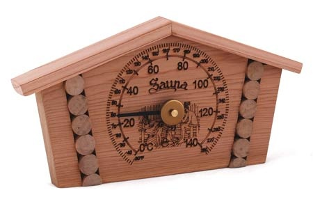 "Sauna Thermometer: 4"" dial, Cedar look, F° and C°, log house style"