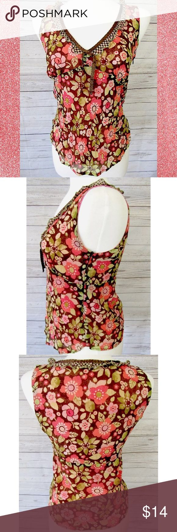 """Sigrid Olsen Petite Blouse Sz 8 Brand:  Sigrid Olsen Style: Sleeveless top, lined, side zip, ruffle edge at neck  Size:  8P Color/Pattern: Floral, pink, coral, brown, green  Material: Rayon   Measurements taken flat:   -Shoulder to hem:   21"""" -Across under arm:  17"""" Garment Care: dry clean Condition: No flaws. Sigrid Olsen Tops Blouses"""