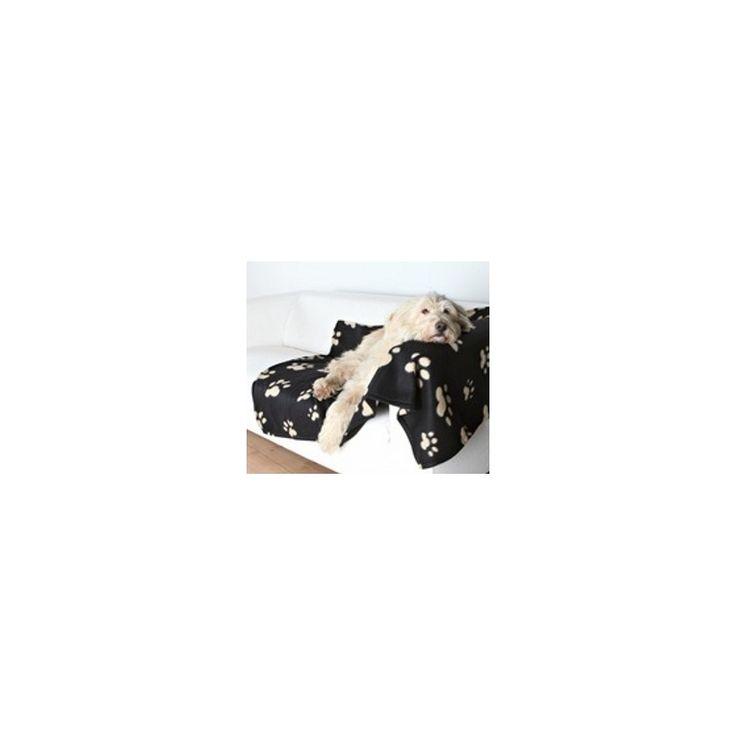 """MANTA HUELLAS BARNEY,  Manta para perro grande de felpa """"Barney"""" en color negro y con bonitas impresiones de huellas en color beig. http://bit.ly/1Rw1Ylf"""