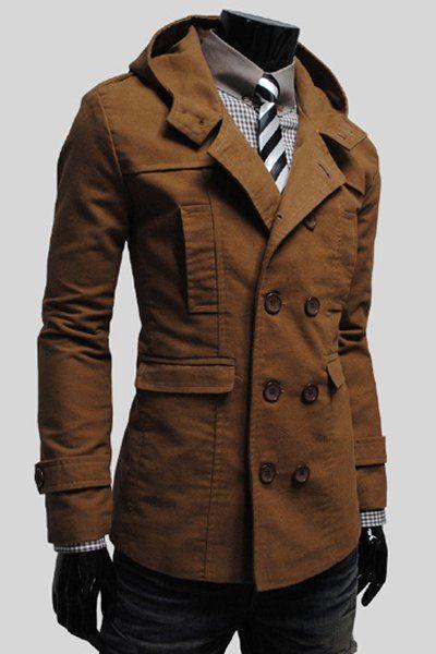 Simple Hooded Flap Pocket Back Slit Solid Color Long Sleeves Slimming Trench Coat For Men