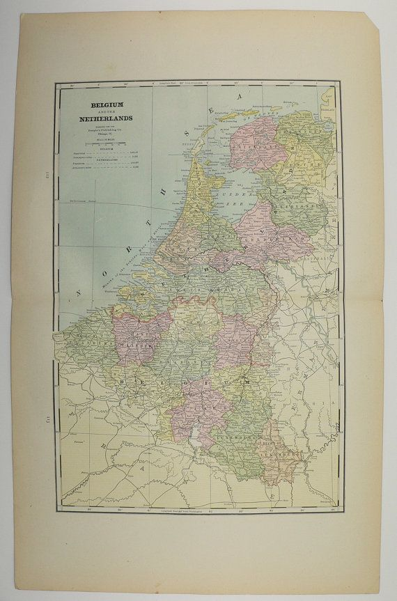 Antique Belgium Map Vintage Map of Netherlands 1886 Sweden Map Norway Unique Gift Under 25 Travel Map Genealogy Gift for Home Wedding Prop by OldMapsandPrints on Etsy