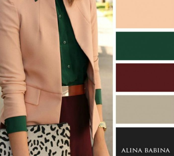 Peach, emerald green and burgundy