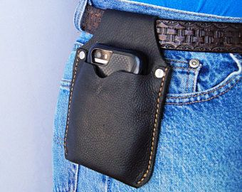 Small Phone Holster Black Leather Cell Phone Belt case Black Leather IPhone Case Phone Pouch iPhone Holster IPhone case CPS