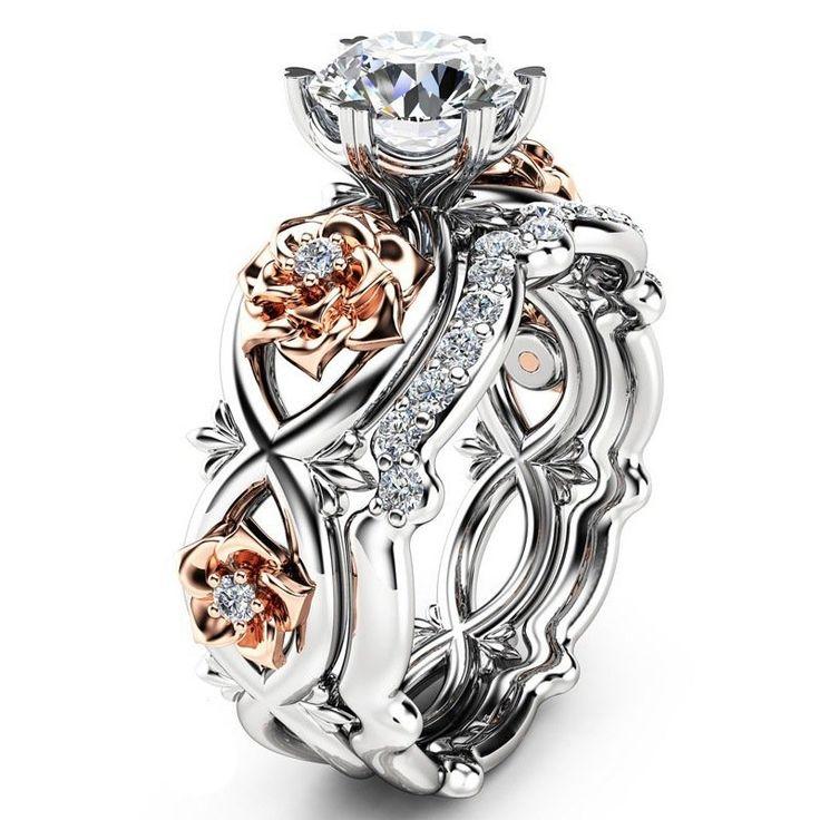 Elegant Zircon Inlaid Rose Gold Flower Heart Hollow Platinum Ring Set Gift for Women  #women #men #fashion #jewelry #watches