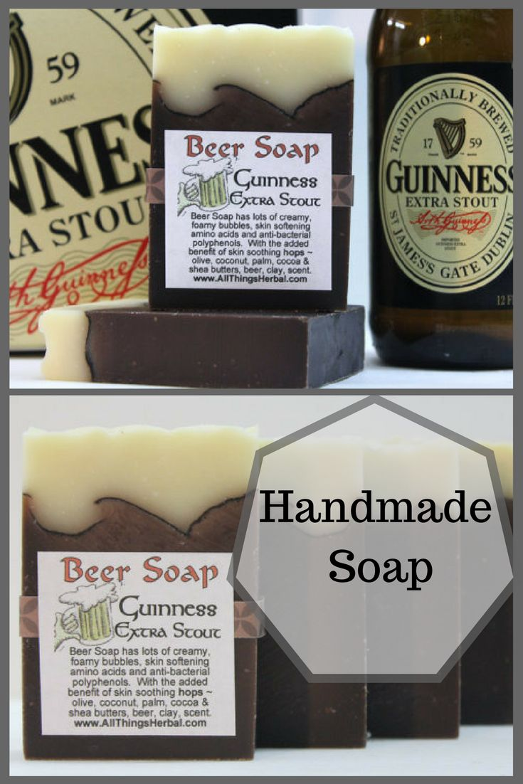 Guinness Beer Handmade Soap - Perfect gift for the guy in your life or even for St Patrick's Day #StPatricksDay #Guinness #affiliate #soap #giftforhim #handmade #etsy