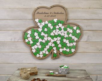 Custom 3D wedding guest book alternative Saint Patrick's Day wedding Shamrock Drop box Clover guest book wood Rustic Green Wedding gift