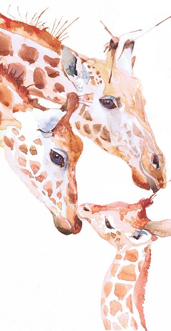 Giraffe original animal art painting watercolor nursery by ValrArt