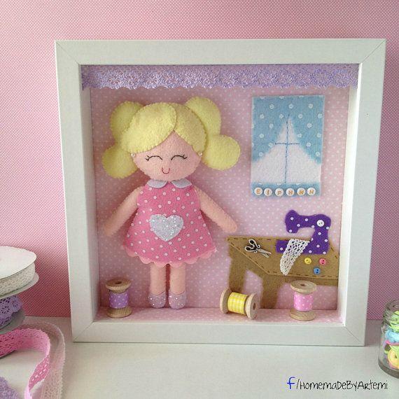 Personalised Decorative Felt Frame with Felt Doll Sewing Theme by HomeMadebyArtemi
