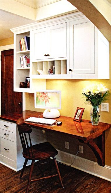 I like this floating desk idea for the kitchen.