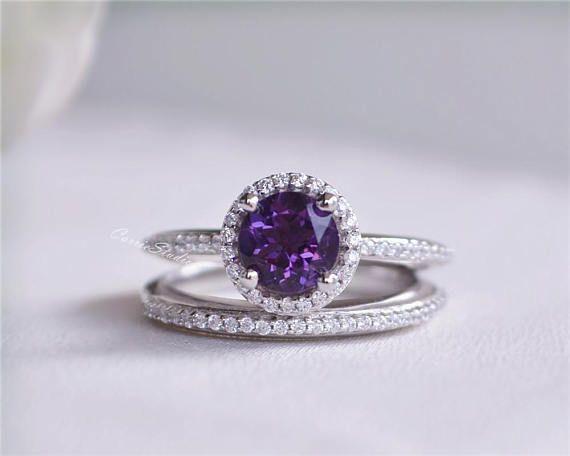 Anillo Amatista Set anillo amatista juego anillo de bodas alta