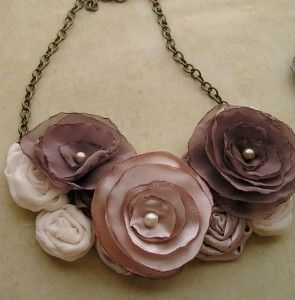 Coffee and Cream fabric flower bib necklace by...
